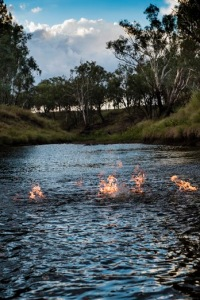 Fire on the Condamine River vertical nice sky